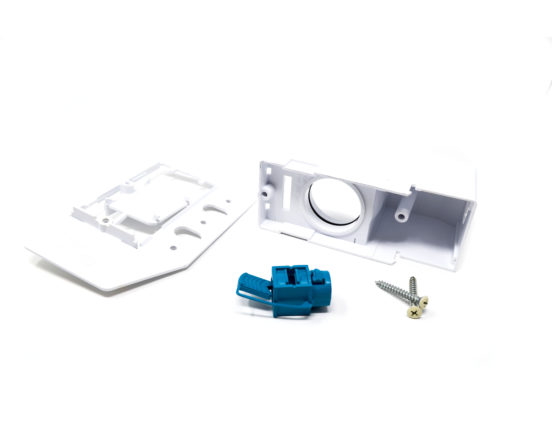 White direct connect inlet parts for high, low, and no voltage hoses