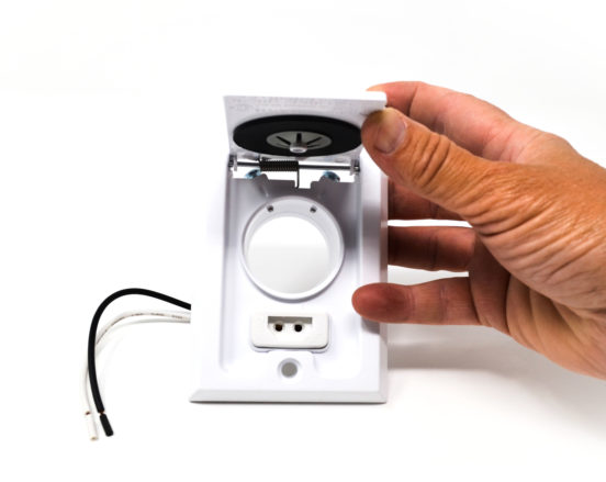 White, Square Door, dual voltage inlet valve opening
