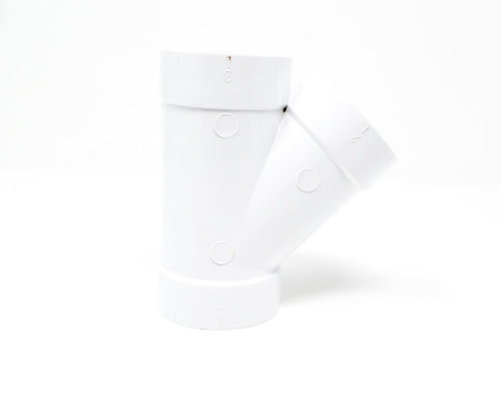 45 Degree PVC Wye for whole home vacuum systems