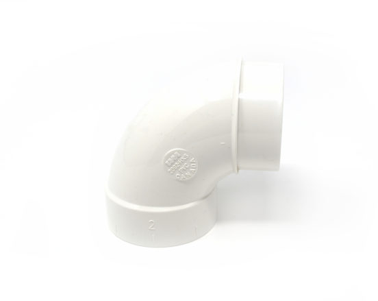 90 degree PVC elbow for home central vacuum system installation