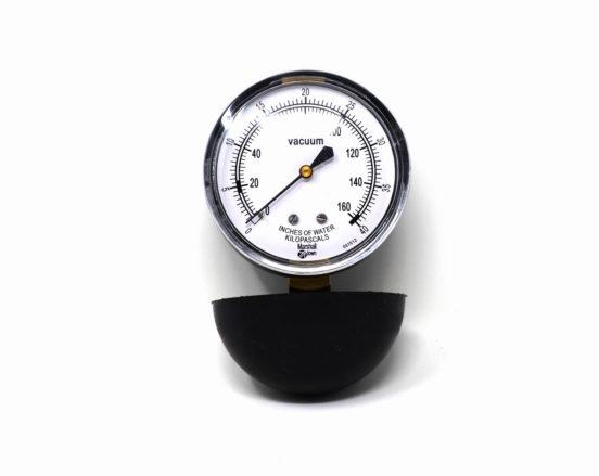 Central vacuum system suction test gauges