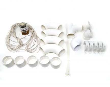 1 inlet Easy installation kit including PVC Ells, Tees, and Couplers; wire clips and 100 foot Low voltage Wire