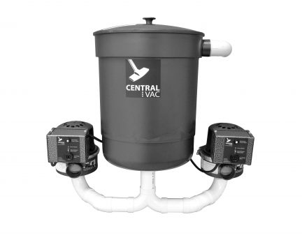 Dual powered CVS-07dp basement system with dirt collection