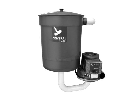 CVS-11 single motor and collection bin system for full home vacuum