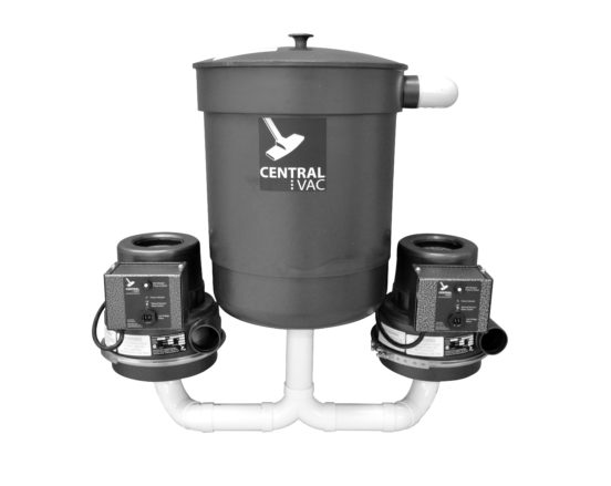CVS-16dp central vacuum unit dual motor and collection container