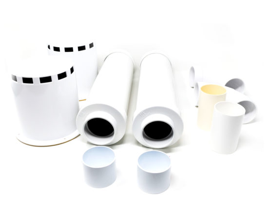 Double muffler kit containing motor and exhaust mufflers with mounting hardware